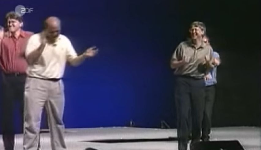 Bill Gates and Steve Ballmer dancing - Windows 95 launch